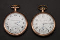 Timepieces:Pocket (post 1900), Two Hampden 17 Jewel Open Face Pocket Watches Runners. ... (Total:2 Items)