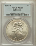 Modern Issues: , 1993-P $1 Jefferson Silver Dollar MS69 PCGS. PCGS Population(3523/320). NGC Census: (1901/627). Mintage: 266,927. Numismed...