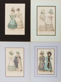 "Books:Prints & Leaves, Lot of Four Hand-Colored Illustrations Featuring Early 19th CenturyWomen's Clothing Fashion. 5.5"" x 9.5"", published by G. B..."