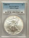 Modern Bullion Coins, 2008-W $1 Silver Eagle MS70 PCGS. PCGS Population (2058). NGCCensus: (19683)....