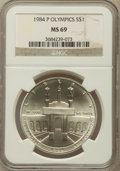 Modern Issues: , 1984-P $1 Olympic Silver Dollar MS69 NGC. NGC Census: (1342/55).PCGS Population (1883/37). Mintage: 217,000. Numismedia Ws...