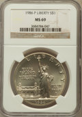 Modern Issues: , 1986-P $1 Statue of Liberty Silver Dollar MS69 NGC. NGC Census:(3455/216). PCGS Population (4099/155). Mintage: 723,635. N...