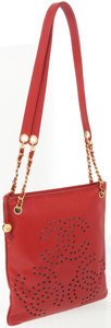 Luxury Accessories:Bags, Chanel Red Caviar Leather Shoulder Bag with Perforated CC Detail....