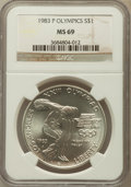 Modern Issues: , 1983-P $1 Olympic Silver Dollar MS69 NGC. NGC Census: (1657/40).PCGS Population (2347/18). Mintage: 294,543. Numismedia Ws...