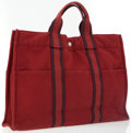 Luxury Accessories:Bags, Hermes Red and Blue Canvas Fourre Tout MM Canvas Tote. ...