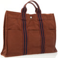 Luxury Accessories:Bags, Hermes Brown & Navy Canvas Fourre Tout MM Tote Bag. ...