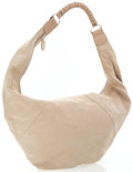 Luxury Accessories:Bags, Strenesse Gabriele Strehle Beige Suede Oversize Hobo with Leather Handle. ...