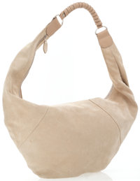 Strenesse Gabriele Strehle Beige Suede Oversize Hobo with Leather Handle