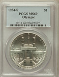 Modern Issues: , 1984-S $1 Olympic Silver Dollar MS69 PCGS. PCGS Population(1238/6). NGC Census: (975/2). Mintage: 116,000. Numismedia Wsl....