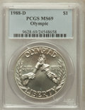 Modern Issues: , 1988-D $1 Olympic Silver Dollar MS69 PCGS. PCGS Population(2000/60). NGC Census: (1893/69). Mintage: 191,000. Numismedia W...