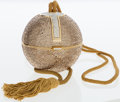 Luxury Accessories:Bags, Judith Leiber Full Bead Gold & Silver Crystal Sphere MinaudiereEvening Bag with Tassel . ...