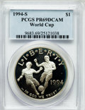 Modern Issues: , 1994-S $1 World Cup Silver Dollar PR69 Deep Cameo PCGS. PCGSPopulation (2495/102). NGC Census: (2204/113). Mintage: 576,97...