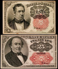 Fractional Currency:Fifth Issue, Fr. 1265 10¢ Fifth Issue Fine. Fr. 1309 25¢ Fifth Issue ExtremelyFine.. ... (Total: 2 notes)