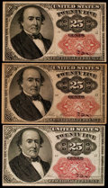Fractional Currency:Fifth Issue, Fr. 1309 25¢ Fifth Issue Three Examples Fine or Better.. ...(Total: 3 notes)