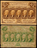 Fractional Currency:First Issue, Fr. 1281 25¢ First Issue Fine. Fr. 1312 50¢ First Issue Very Good.. ... (Total: 2 notes)