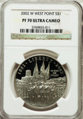 Modern Issues: , 2002-W $1 West Point Silver Dollar PR70 Ultra Cameo NGC. NGCCensus: (1661). PCGS Population (208). Numismedia Wsl. Price ...