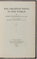 Books:Religion & Theology, Henry Drummond. LIMITED. The Greatest Thing in the World. Privately printed for Delight Ward Merner and Garfield Dav...