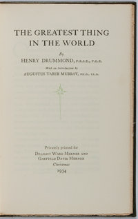 Henry Drummond. LIMITED. The Greatest Thing in the World. Privately printed for Delight Ward Me