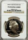 Modern Issues: , 1990-P $1 Eisenhower Silver Dollar PR69 Ultra Cameo NGC. NGCCensus: (3623/97). PCGS Population (6145/188). Mintage: 1,144,...