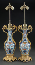 Asian:Japanese, A PAIR OF JAPANESE IMARI PORCELAIN AND GILT BRONZE VASES MOUNTED ASLAMPS. 20th century. 31 inches high (78.7 cm). PROPERT... (Total: 2Items)