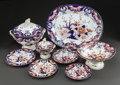 Ceramics & Porcelain, British, A THIRTY-FOUR PIECE DERBY PORCELAIN IMARI PATTERN PARTIAL DINNER SERVICE. Mid-19th century. Marks: BLOOR DERBY. 10-1/4 i... (Total: 34 Items)