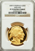 Modern Bullion Coins, 2009-W $50 One-Ounce Gold Buffalo PR70 Ultra Cameo NGC. .9999 Fine.NGC Census: (1881). PCGS Population (1210). Numismedi...
