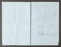 """A LETTER FROM RENOIR TO ALINE REGARDING THEIR FAMILY DOCTOR, """"LATTY"""", SIGNED WITH A CHARMING SKETCH OF A TRAIN"""