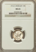 Mercury Dimes: , 1916-S 10C MS65 NGC. NGC Census: (96/55). PCGS Population (135/52).Mintage: 10,450,000. Numismedia Wsl. Price for problem ...