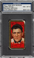 Autographs:Sports Cards, 1911 T205 Gold Border Larry Doyle Tobacco Card PSA NM/MT 8, Signed. ...