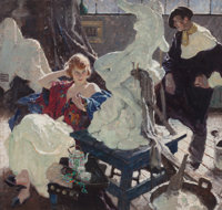 DEAN CORNWELL (American, 1892-1960) The Artist and His Model, 1921 Oil on canvas 34 x 36 in. S