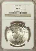 Peace Dollars: , 1922 $1 MS64 NGC. NGC Census: (79804/15881). PCGS Population(41457/6395). Mintage: 51,737,000. Numismedia Wsl. Price for p...