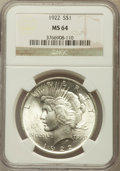 Peace Dollars: , 1922 $1 MS64 NGC. NGC Census: (79842/15877). PCGS Population(41457/6395). Mintage: 51,737,000. Numismedia Wsl. Price for p...