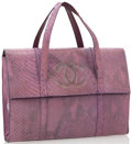 Luxury Accessories:Bags, Chanel Iridescent Purple Python Flap Bag with Transparent CC Logo....