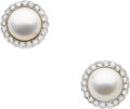 Estate Jewelry:Earrings, Tiffany & Co. Mabé Pearl, Diamond, Gold Earrings. ...