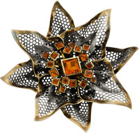 Marilyn Cooperman Citrine, Gold, Silver Brooch