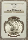 Peace Dollars: , 1923 $1 MS64 NGC. NGC Census: (133292/37526). PCGS Population(75772/16916). Mintage: 30,800,000. Numismedia Wsl. Price for...