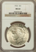Peace Dollars: , 1922 $1 MS64 NGC. NGC Census: (79912/15883). PCGS Population(41457/6395). Mintage: 51,737,000. Numismedia Wsl. Price for p...