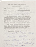 Autographs:Others, 1950's Ted Williams Signed Questionnaire with OutrageousSuggestion....