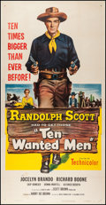 """Movie Posters:Action, Ten Wanted Men (Columbia, 1955). Three Sheet (41"""" X 80""""). Action....."""