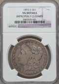 Morgan Dollars, 1893-S $1 -- Improperly Cleaned -- NGC Details. VG....
