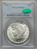 Peace Dollars: , 1927-S $1 MS63+ PCGS. CAC. PCGS Population (1827/1437). NGC Census:(988/1127). Mintage: 866,000. Numismedia Wsl. Price for...