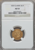 Classic Quarter Eagles, 1834 $2 1/2 AU53 NGC. Breen-6138, Variety 1, R.1....