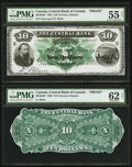 Canadian Currency: , Toronto, ON- The Central Bank $10 Jan. 1, 1884 Ch. # 90-10-04P Face and Back Proofs. ... (Total: 2 notes)