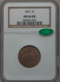 Two Cent Pieces: , 1865 2C MS64 Red and Brown NGC. CAC. NGC Census: (351/418). PCGSPopulation (617/286). Mintage: 13,640,000. Numismedia Wsl....