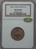 Two Cent Pieces: , 1864 2C Large Motto MS64 Brown NGC. Gold CAC. NGC Census:(446/277). PCGS Population (279/53). Mintage: 19,847,500.Numisme...
