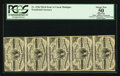 William E. Simon Courtesy Autographed Fr. 1226 3¢ Third Issue Vertical Strip of Five PCGS Apparent About New 50...