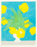 Fine Art - Work on Paper:Print, PIERRE BONCOMPAIN (French, b. 1938). Tulips on Blue Background, 1991. Color lithograph. 26 x 21 inches (66.0 x 53.3 cm) ...