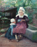 American:Portrait & Genre, LUCIUS WOLCOTT HITCHCOCK (American, 1868-1942). Mother FeedingChild, 1892. Oil on canvas. 24 x 19 inches (61.0 x 48.3 c...