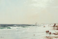 Fine Art - Work on Paper:Watercolor, ALFRED THOMPSON BRICHER (American, 1837-1908). New England BeachScene. Watercolor and pencil on paper laid on board. 14...
