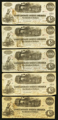 Confederate Notes:1862 Issues, T40 $100 1862 PF-2 Cr. 306. T40 $100 1862 PF-3 Cr. 302 FourExamples.. ... (Total: 5 notes)